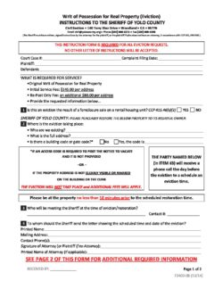 Eviction Instructions - Yolo County Sheriff's Office | Woodland, CA